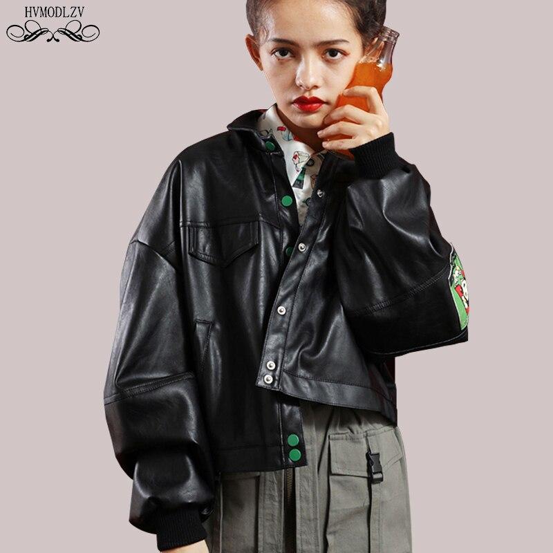 Autumn Black PU Leather Bomber Jacket Women Vintage Print 2019 New Long Sleeve Fashion Short Basic Coat Plus Size Outerwear H196 enlarge