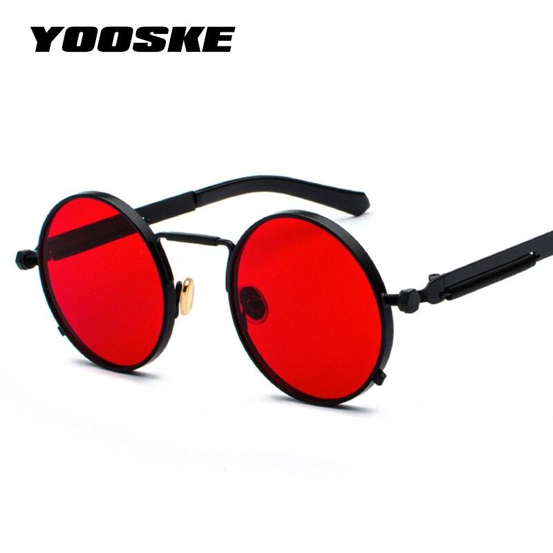 Yooske steampunk vintage óculos de sol das mulheres dos homens marca de luxo designer metal vapor punk óculos de sol escudos redondos uv400