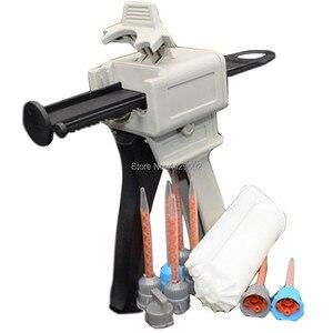 10:1 50ml Dispensing Gun Applicator Glue Gun + 50ml Epoxy Resin Mix Cartridge + 7pcs 10:1 Static Mixer Tip Nozzle Mixing Nozzles