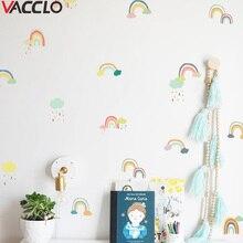 Vacclo-ensemble de 24 pièces/ensemble dautocollants muraux transparents   Étiquette murale, pâte murale, arc-en-ciel, pour chambre denfants, fournisseur de décoration de chambre de bébé