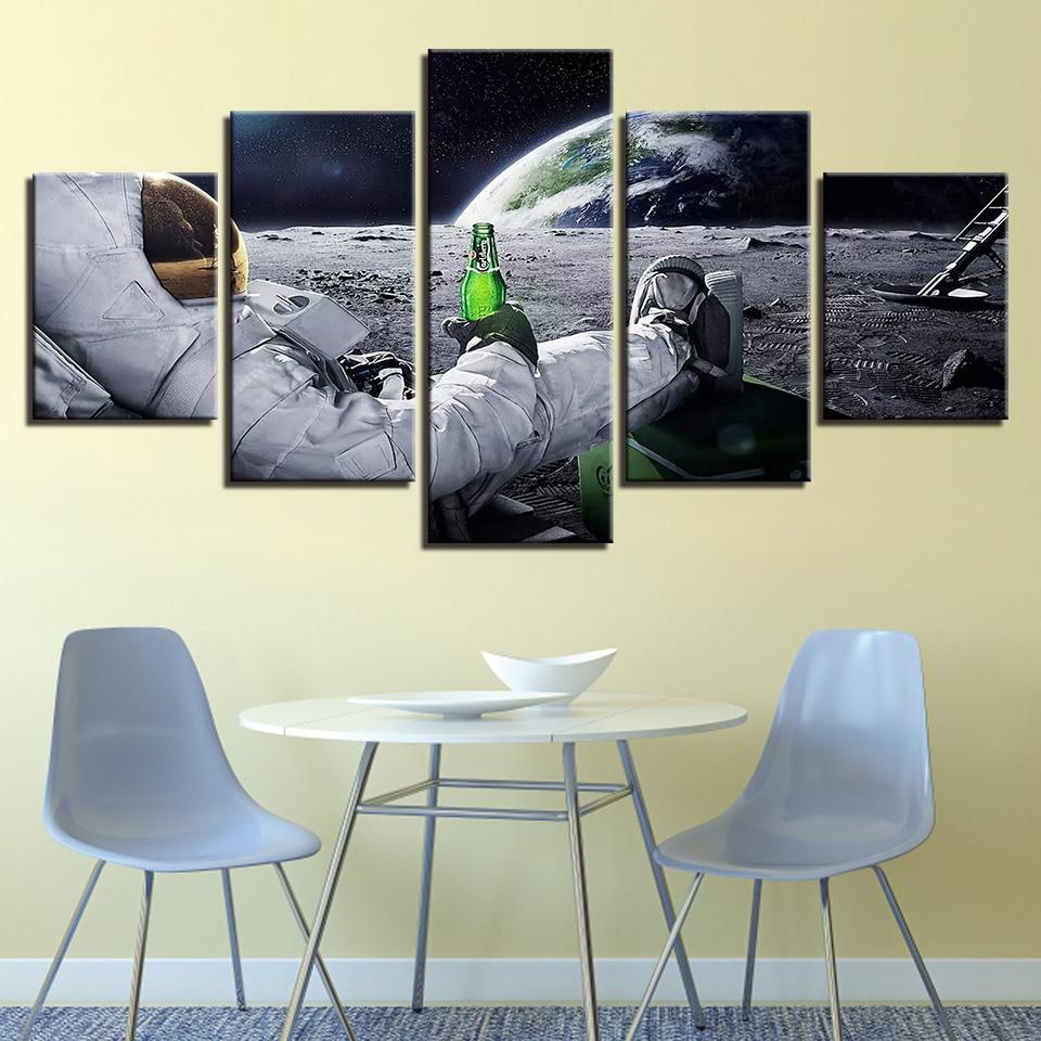 Leinwand Wand Kunst Bilder Wohnkultur Rahmen 5 Stück Astronaut Gemälde Wohnzimmer HD Drucke Abstrakte Lunar Landschaft Poster