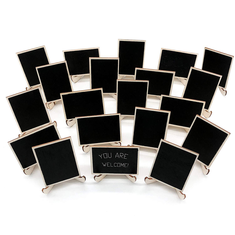 Paquete de 20 letreros de madera con caballetes de apoyo, tarjetas de lugar, pizarras rectangulares pequeñas para bodas, fiestas de cumpleaños, M