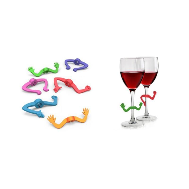 6 uds. Marcador de copa de vino de silicona con forma de garra de manos marcador de copa de beber identificador signo de taza para cócteles Champagne (Color al azar)