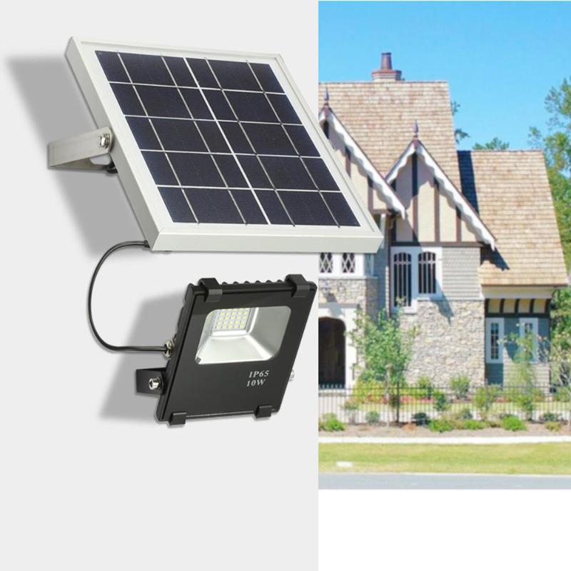 10W Solar Powered LED Floodlight 25LED Flood Light IR control remoto IP65 impermeable exterior jardín farola lámpara