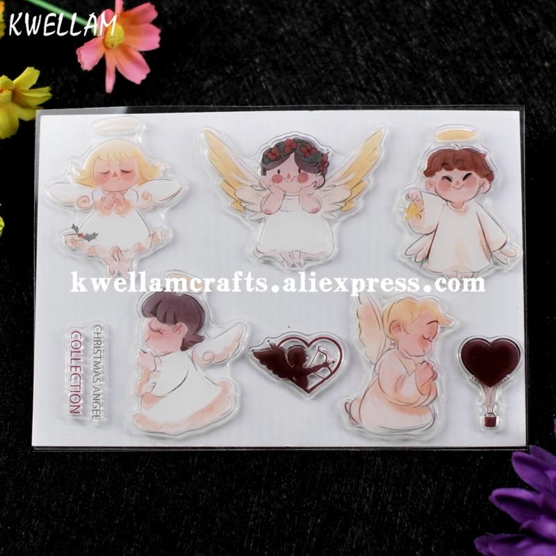 Colección de Ángel de Navidad globo de aire caliente álbum de recortes DIY tarjetas de foto sello de goma sello transparente sello KW7072361