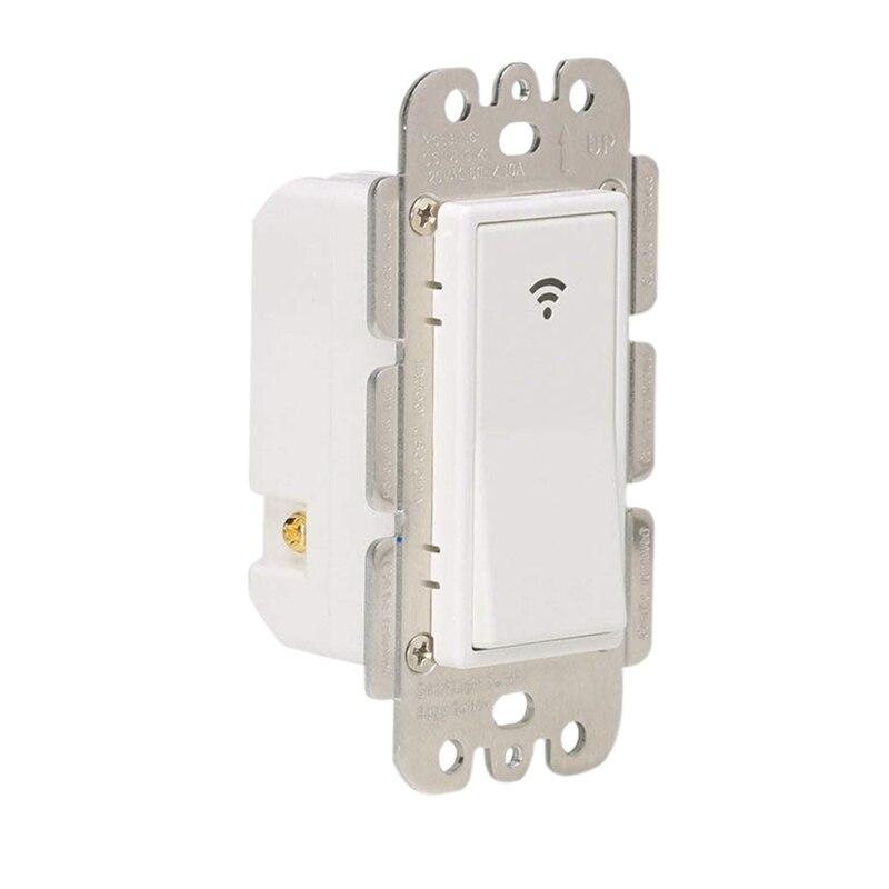 Interruptor de luz inteligente WiFi Control remoto inalámbrico temporizador de pared interruptor para luces de ventilador Compatible con Alexa Google Home, sin Hub R
