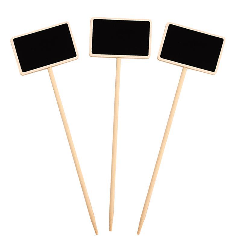 10 piezas pizarras borrables útiles rectangulares pizarra de madera Mini pizarra de mensajes señales tarjetas de lugar para habitación de niños