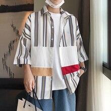 2019 Summer Mens Stripe Printing Coats Hit Color Short Sleeve Classic Style Patchwork Hawaiian Khaki/blue Fashion Shirts M-2XL