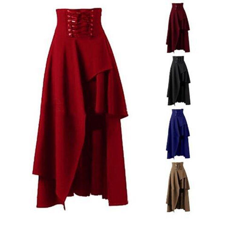 S-2XL Vintage Steampunk Rockabilly vintage para mujer, ropa de fiesta, falda Lolita, falda Hippie gitana, traje, falda Steampunk Medieval