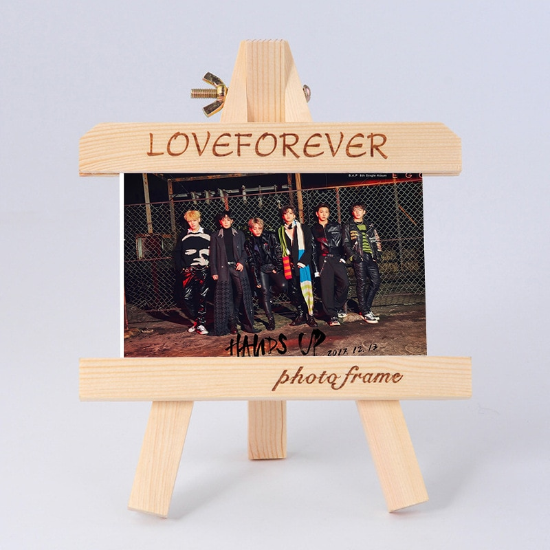 [MYKPOP B un P Marco de madera BAP + foto KPOP, colección de Fans SA18090405