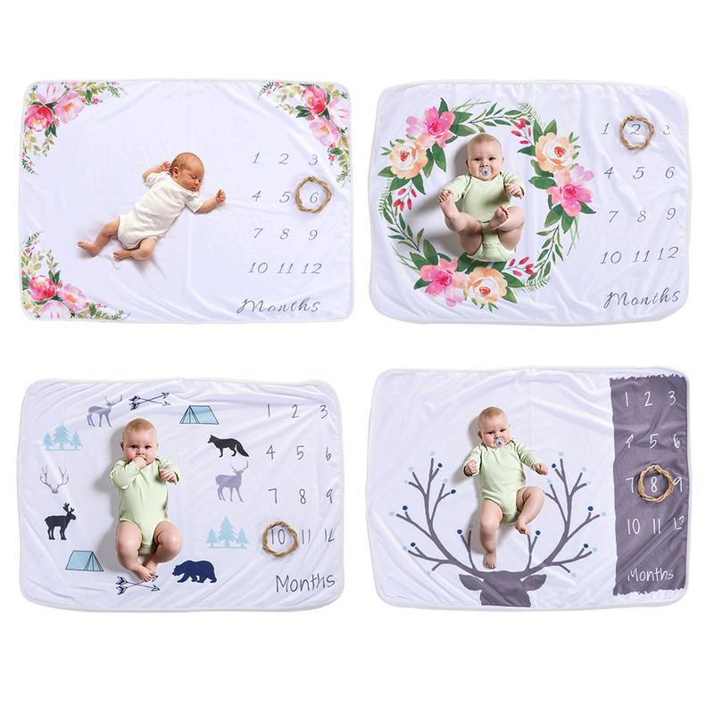 Recién Nacido manta crecimiento mensual hito números fotografía apoyos de fotografía de cubierta de paseo bebé aniversario Manta