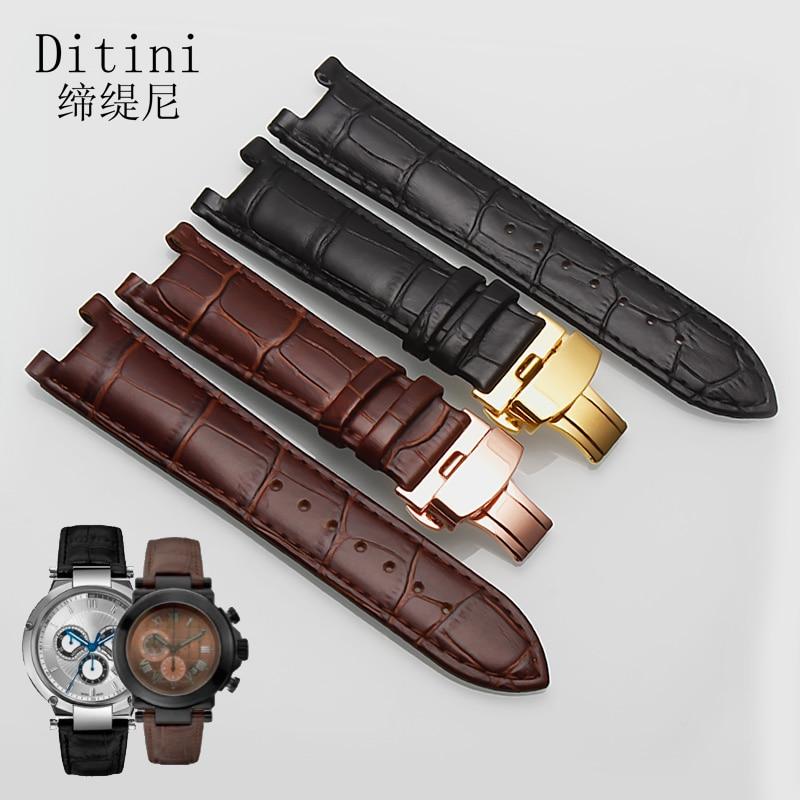 Correa de reloj de cuero genuino para reloj GC para hombres y mujeres correa de reloj de cuero de vaca 22-13mm correa negra marrón con hebilla de mariposa