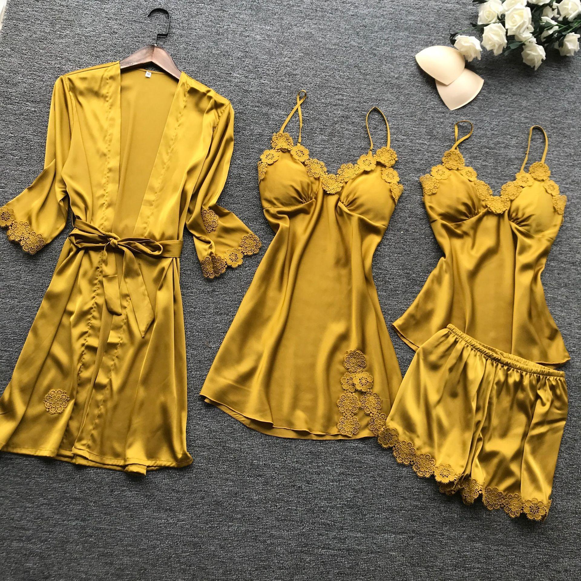 Lisacmvpnel 4 шт. Женская атласная пижама с вышивкой на груди, сексуальная пижама с кардиганом на поясе