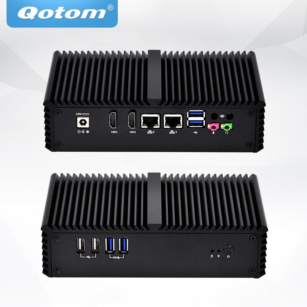 Envío Gratis Qotom Mini PC Q301P Q350PY Celeron 2955U/core/i5-3205U Dual Lan 6*6 * USB RS232/RS485/VGA 15W ventilador POS computadora