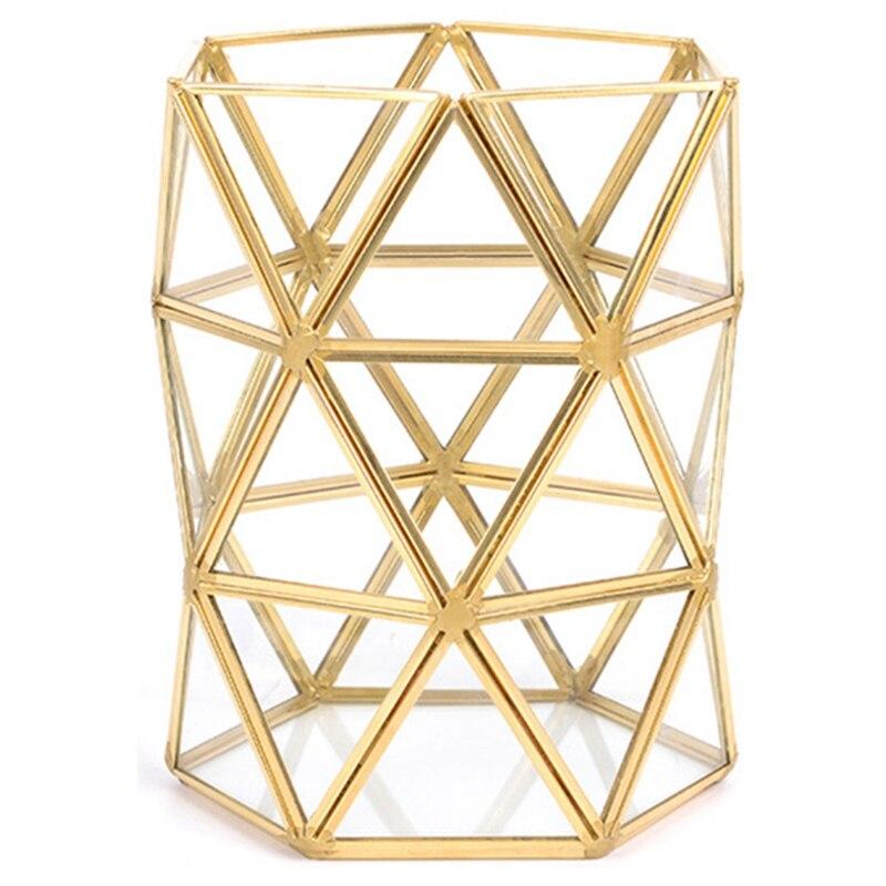 LUDA-нерегулярная стеклянная трубка для хранения, скандинавские Ins Золотые кисти для красоты, бронзовые кисти для макияжа, ведро для хранения, простая вставленная ваза