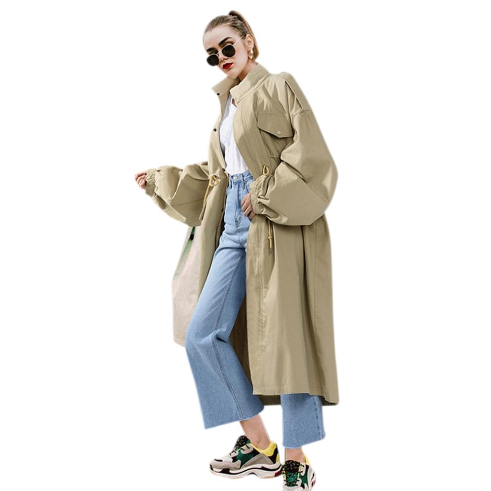 Autumn Winter New Loose Plus Size Batwing Sleeve Windbreaker For Women Fashion Long Windbreaker Standing Collar Large Windbrea