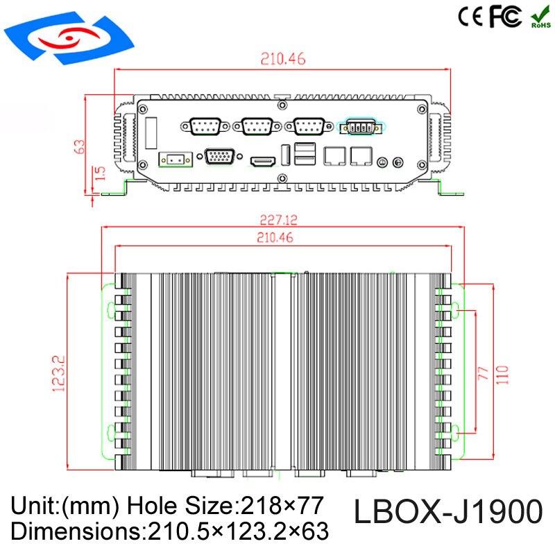 Low Price Fanless Mini Industrial PC With 4Gb ram 64Gb SSD Intel Celeron J1900 Quad Core CPU 5*USB 4*COM X86 Mini Computer