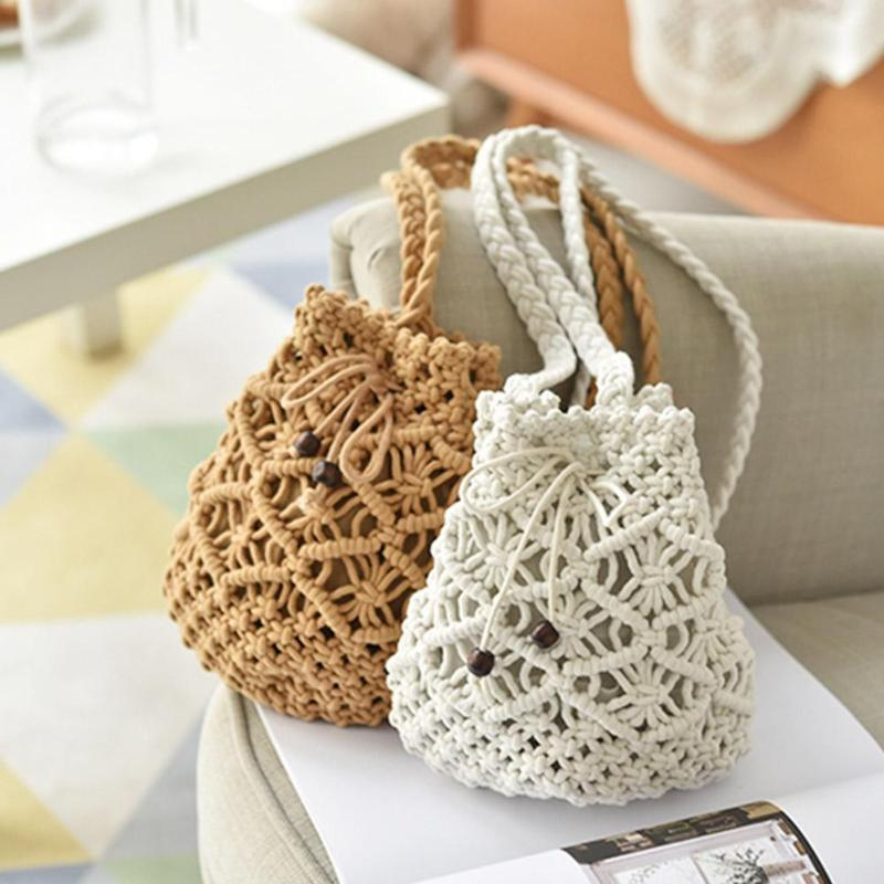 dusun summer bucket bag hand woven hollow out mesh shoulder handbag shopping bag vintage knitting large capacity women beach bag Drawstring Women's Straw Bucket Bag Summer Woven Shoulder Bags Shopping Purse Beach Handbag Straw Handbags Travel Bags For Women