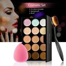 Anself 15 couleurs crème anti-cernes visage + éponge bouffée + pinceau de maquillage ovale beauté Camouflage Contour Palette de maquillage ensemble cosmétique