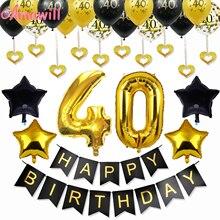 Amawill-Kit de décoration fête danniversaire adulte   Ballons en Latex pour 40e anniversaire, nombre de papier daluminium 32 pouces, fournitures de fête 7D pour les adultes de 40 ans