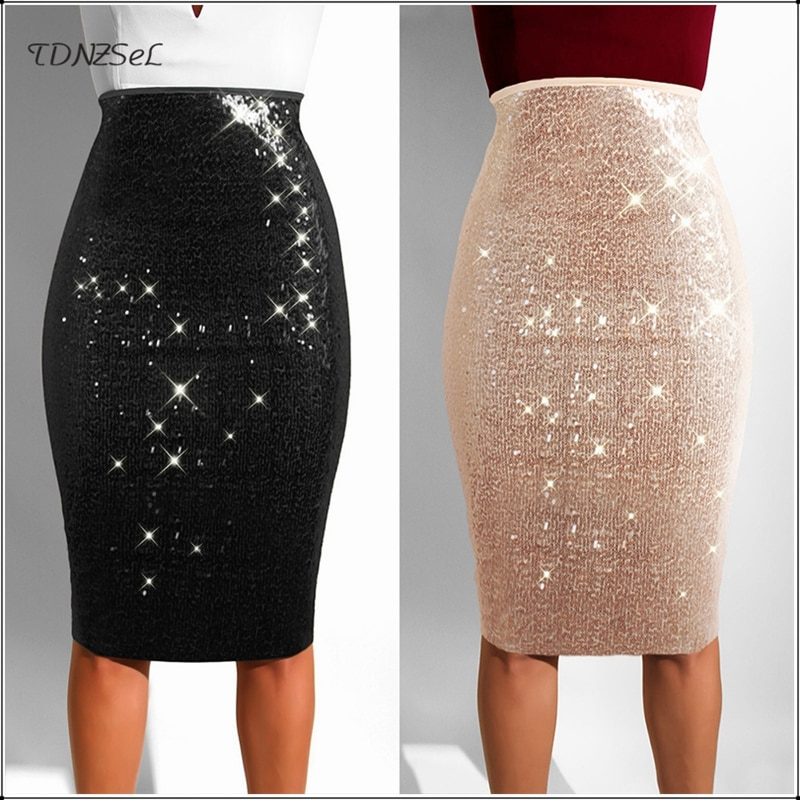 Женская Блестящая юбка, облегающая юбка до колена с высокой талией alcoolique юбка до колена