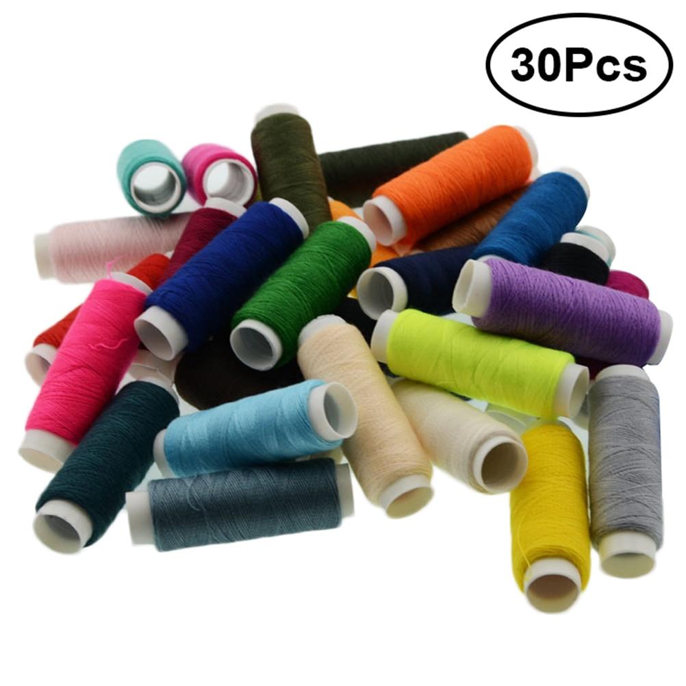 30 Uds hilo de coser de poliéster surtido acolchado hilo de conexión bobina carrete para tapicería rebordear Serger