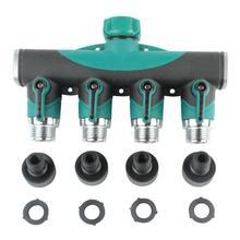 4 Way Garden Water Tap Adaptor Hose Splitter Quick Connectors Garden Hose Connector Thread Tap Watering Irrigation Supplies