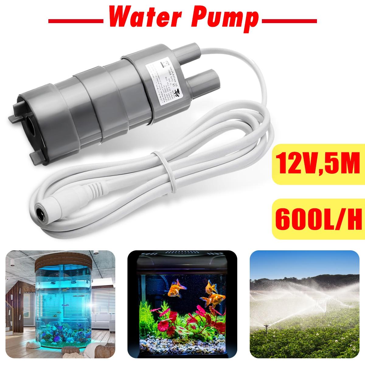 12V Solar Brushless Magnetic Submersible Water Pump 5M 600L/H Garden Fish Pond