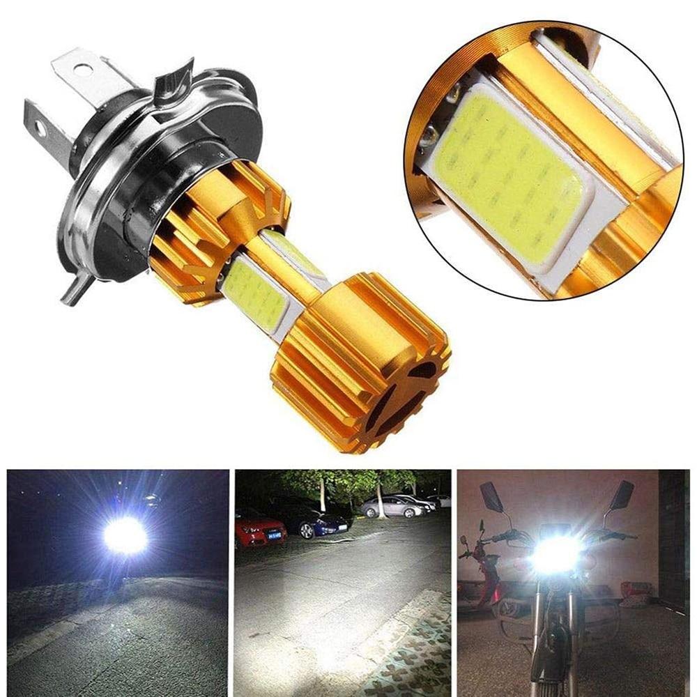 1 unidad de faro delantero de motocicleta H4 18W LED 3 COB, Bombilla de faro de motocicleta 2000LM 6000K Luz de haz Hi/Lo para venta al por mayor, triangulación de envío