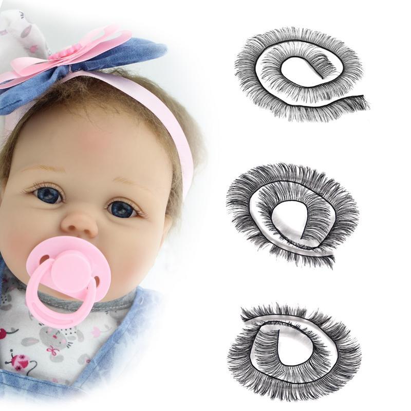 20 cm Wimpern Für Baby Puppen Zubehör Kinder Kinder Spielzeug Puppe Falsche Wimpern 2 Farben Unterstützung Großhandel
