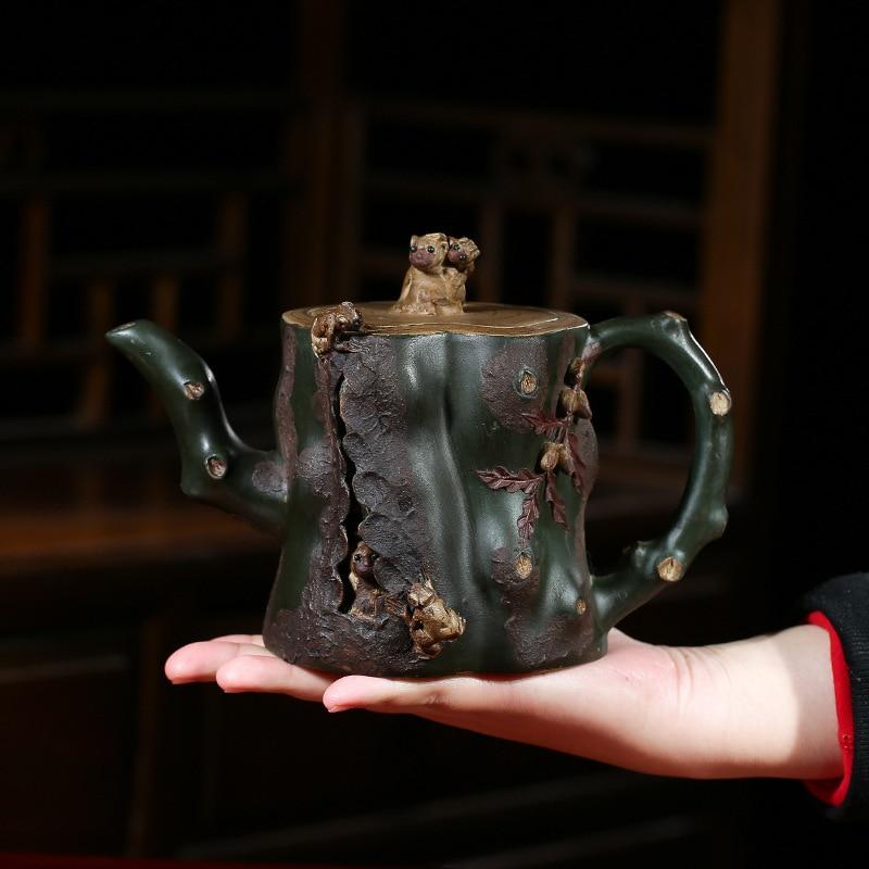 Yixing Gift Raw Ore Dark-red Enameled Pottery Teapot Monkey Stump Imitate Old Kettle A Decoration Kettle Master Bottom Money