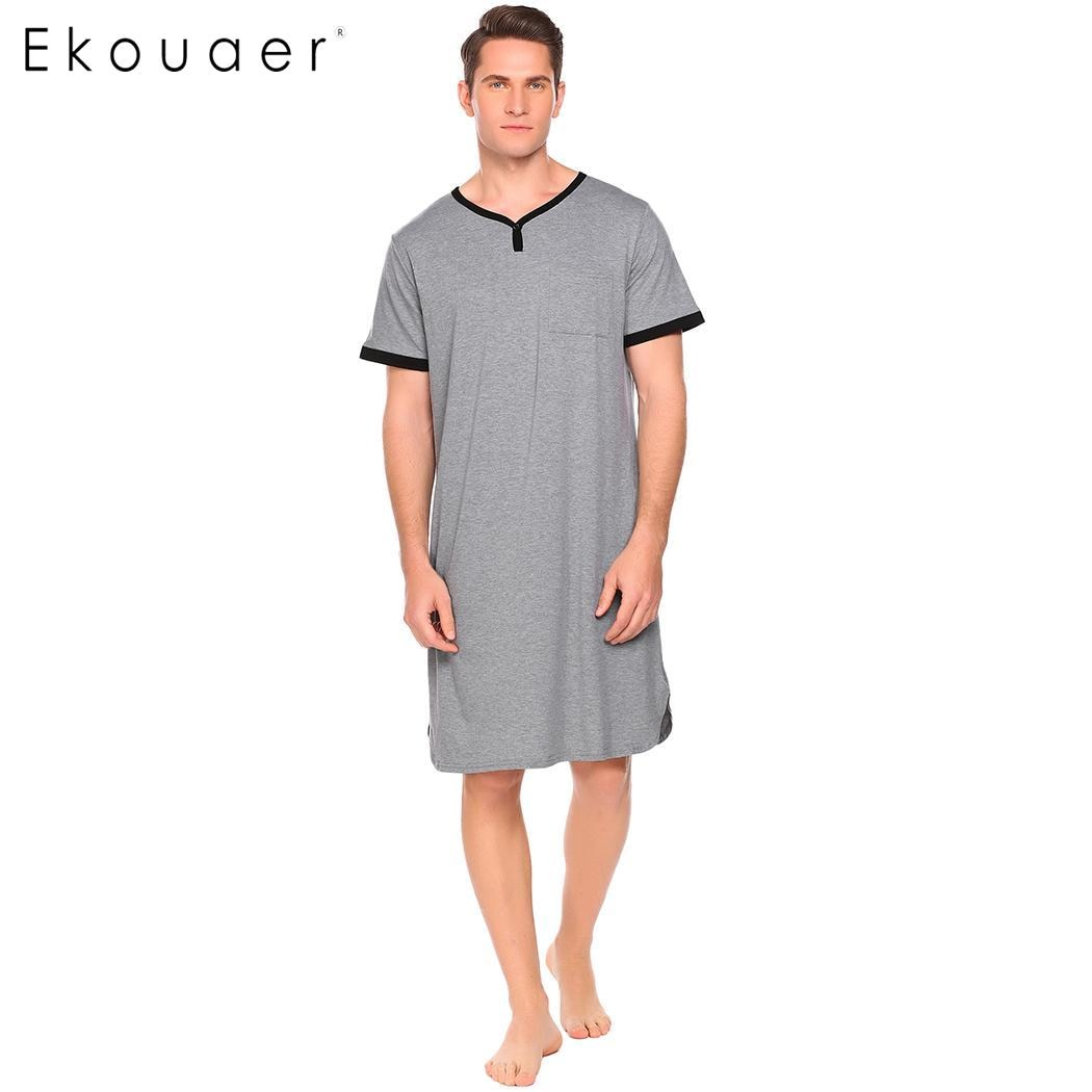 Ekouaer Männer Lose Sleep Weiche Nachtwäsche V Hals Kurzarm Kontrast Farbe Tasche Nachthemd Männlichen Lange Nachtwäsche Tops