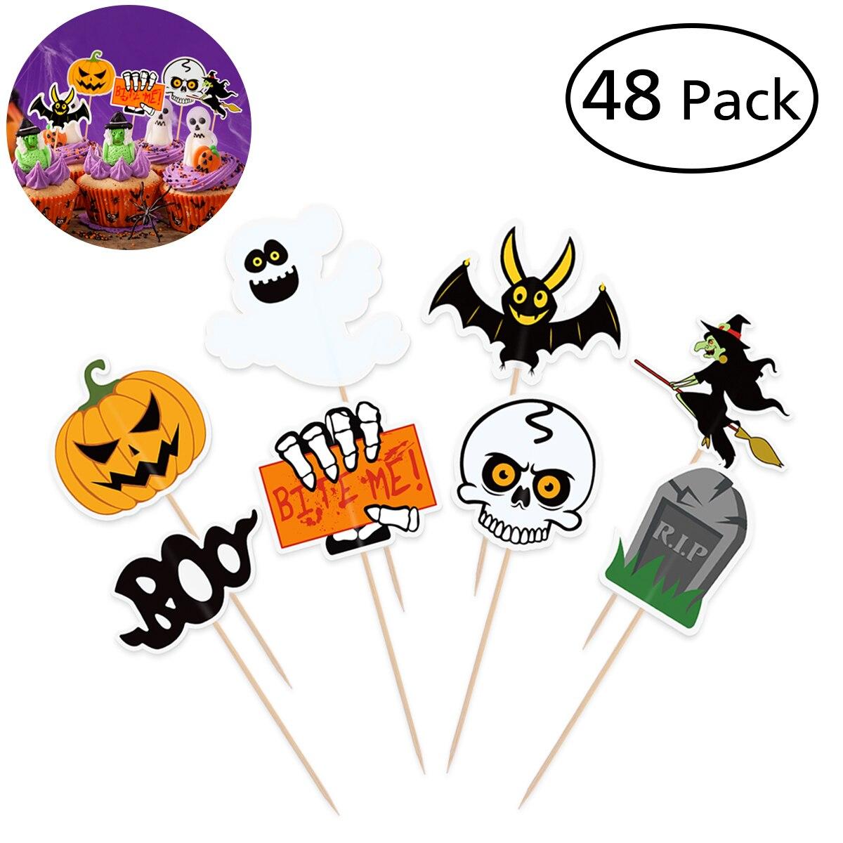 48 Uds Halloween calavera bruja calabaza postre Topper divertido tema palillo de dientes de bambú para decoración de fiesta Halloween