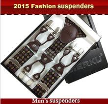 2019 Fashion Men's suspenders Genuine leather Jacquard mens trouser braces 6 clips adult suspensorio tirantes hombre bretelles