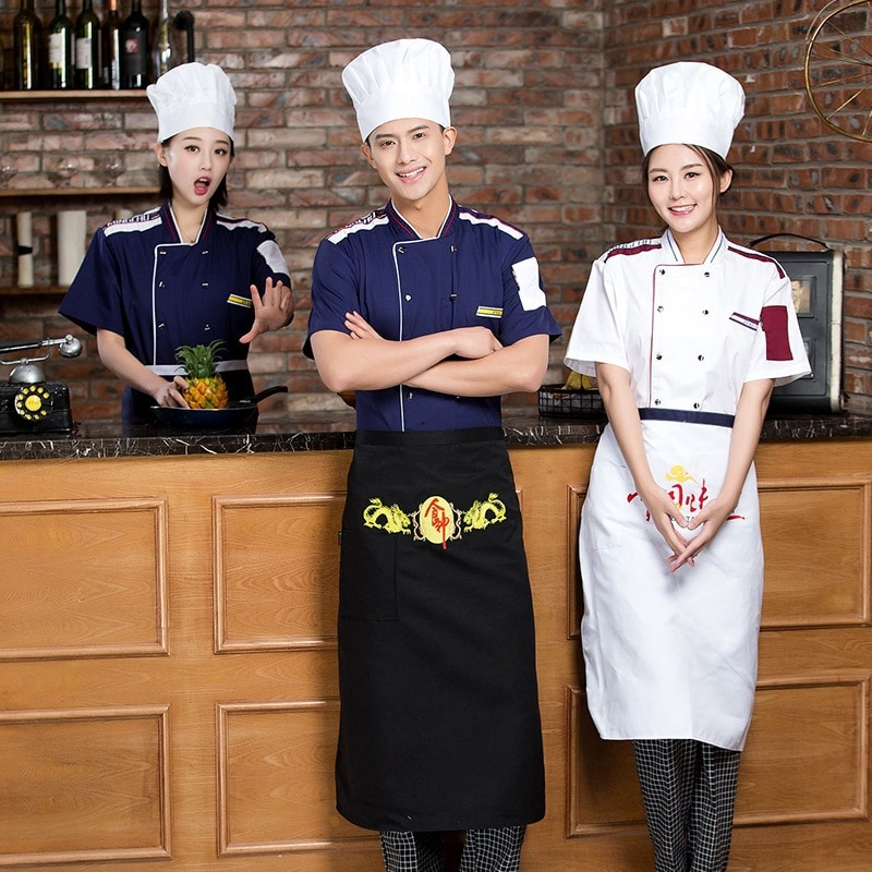 Униформа шеф-повара, одежда с коротким рукавом для шеф-повара, отеля, ресторана, кухни, 4 цвета, Униформа, куртки шеф-повара для женщин и мужчи...