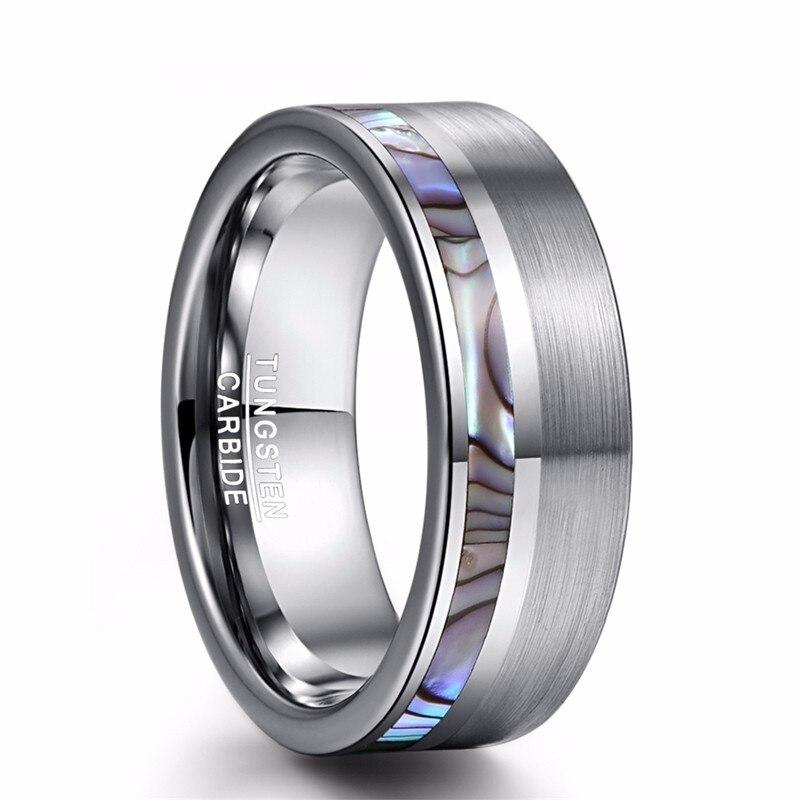 Anillo de acero de tungsteno para hombre de concha de abulón de carburo de seda clásico pulido alto Color plata ópalo anillo de boda joyería