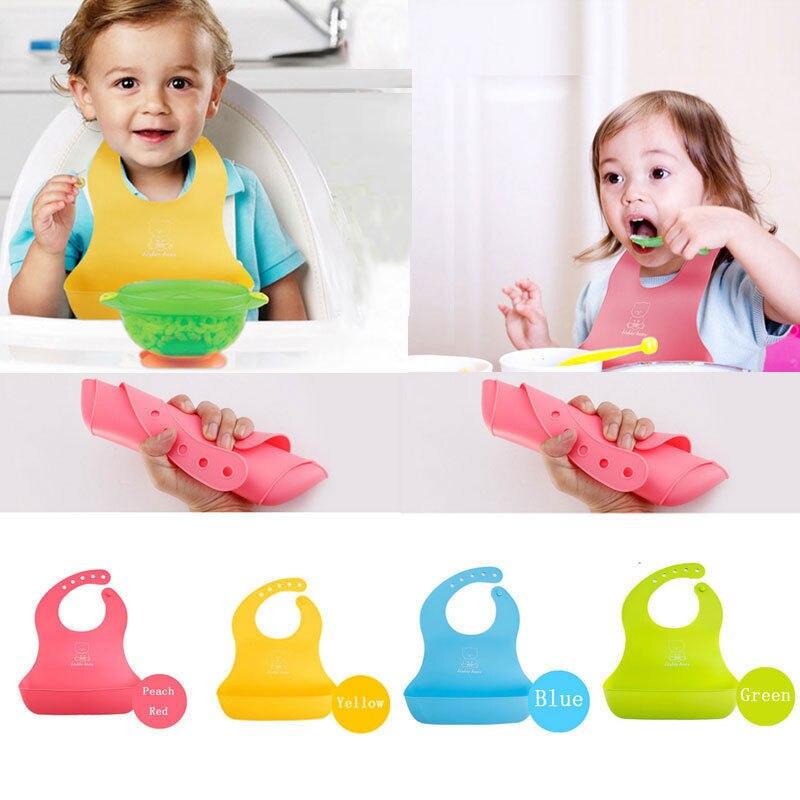 Baberos de bebé recién nacido estéreo babero Infantil Niño pequeño impermeable de silicona recoger arroz bolsillo de dibujos animados lindo Baberos de bebé herramientas de alimentación