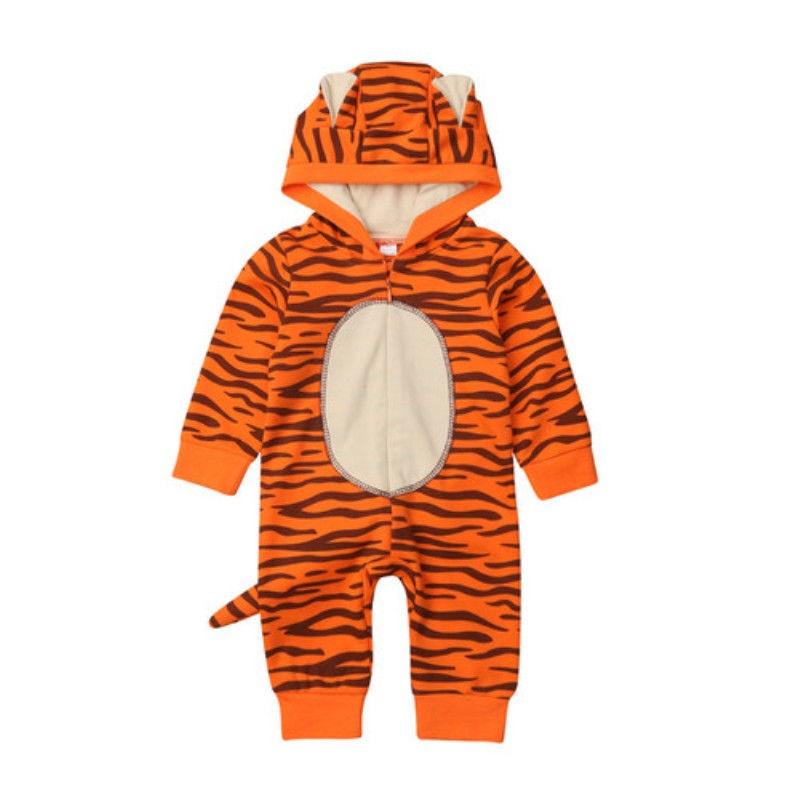Combinaison pour nouveau-né et fille   Motif tigre 3D, fermeture éclair, manches longues, combinaison à capuche, vêtements chauds