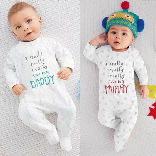 Newborn Baby Romper Boy Girl Cotton Letters Jumpsuit Outfits Winter Undercoat Kids Clothes 0-18 Months