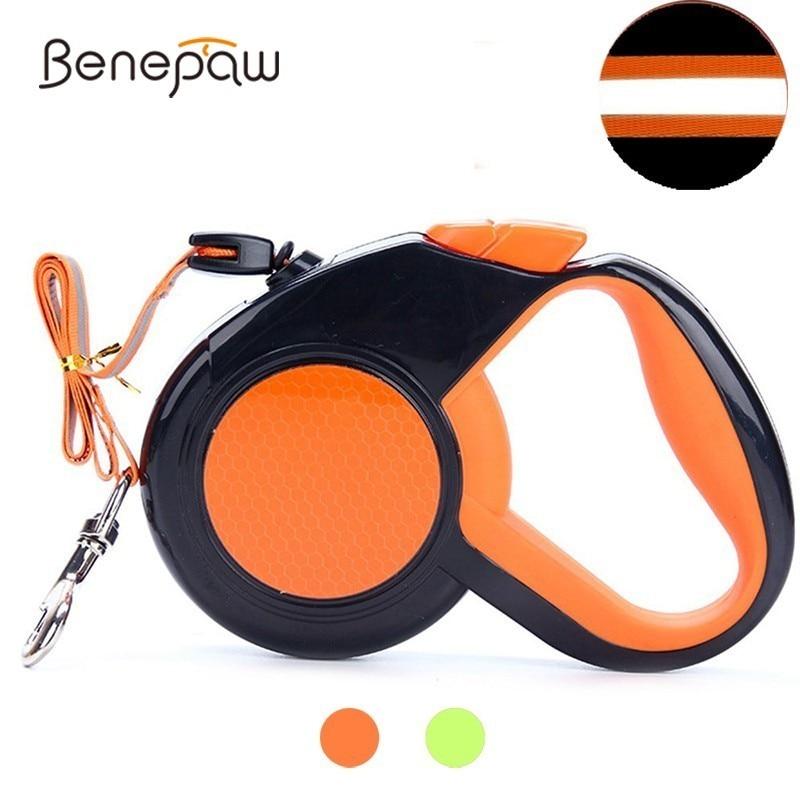 Benepaw Reflective Medium Large Dog Leash Retractable 360° Rotation Soft Hand Grip Pet Leash One Button Brake & Lock Accessories
