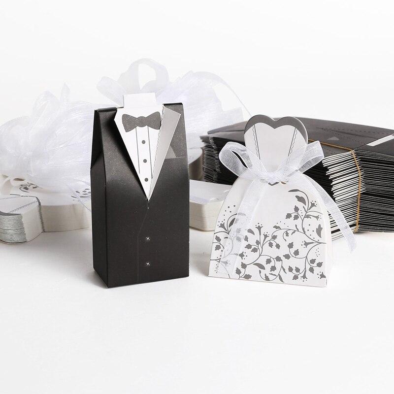 50 pares dragee Box novio negro + novia blanca para la boda