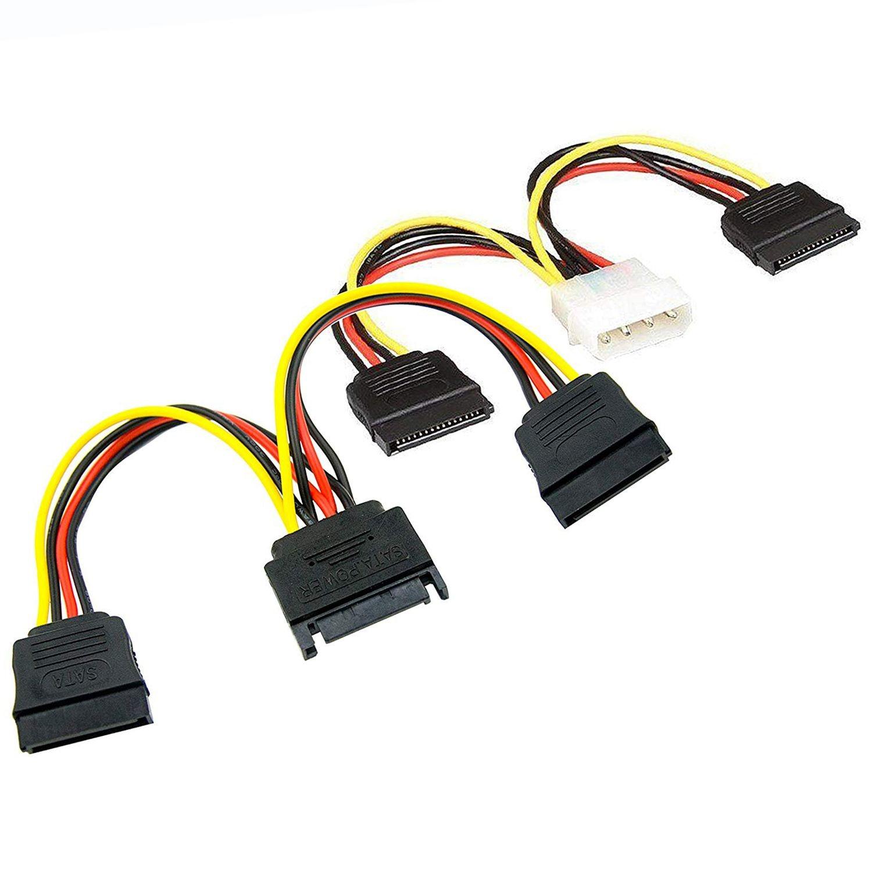 Jogo da conexão do disco rígido de ssd/sata (1x4 pinos ao cabo de alimentação duplo de sata de 15 pinos, 1x15 pinos ao cabo de alimentação duplo de sata de 15 pinos)