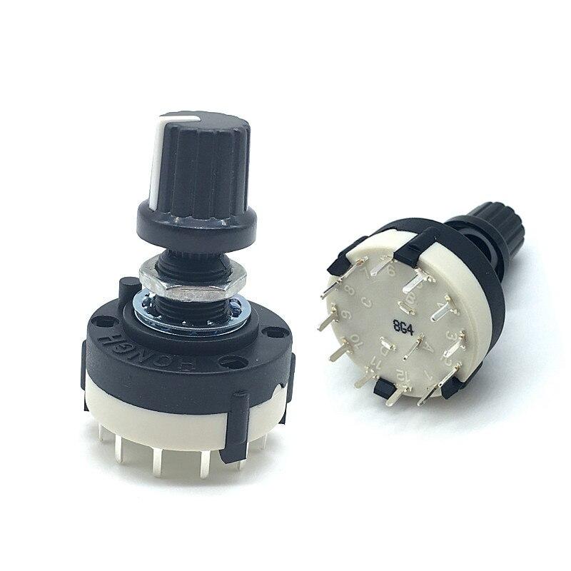 5 uds RS26 1 polo 12 Posición banda seleccionable Rotary Selector de canal interruptor largo de manija 20MM con mando