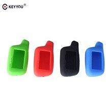 KEYYOU 4 Tasten Candy Silikon Auto Schlüssel Fob Fall Für Tomahawk X5 2-Weg Auto Alarmanlage LCD Fern schlüsselbund Abdeckung Shell