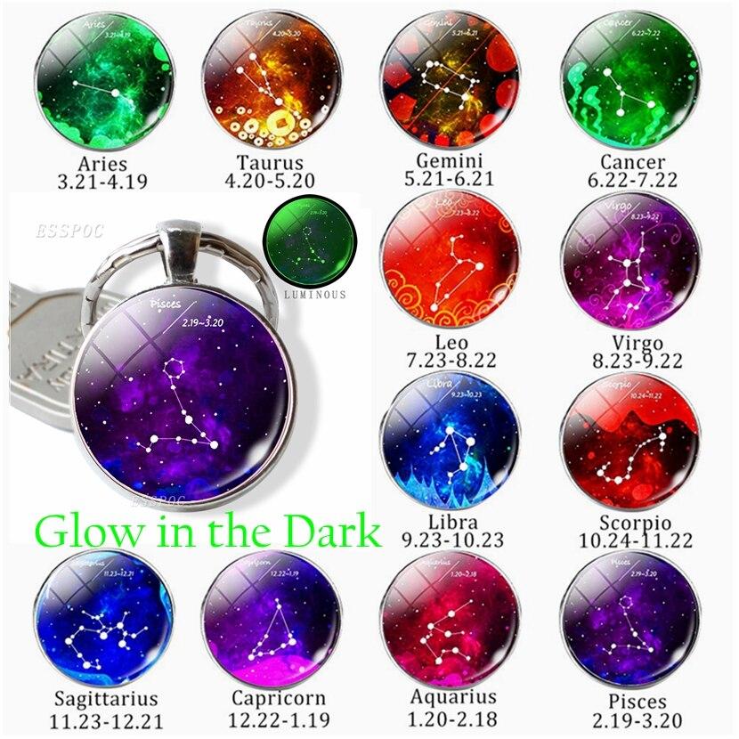 12 constelación signo del zodiaco llavero luminoso cabujón domo de vidrio joyería Gemini Virgo colgante de Libra llavero regalo de cumpleaños