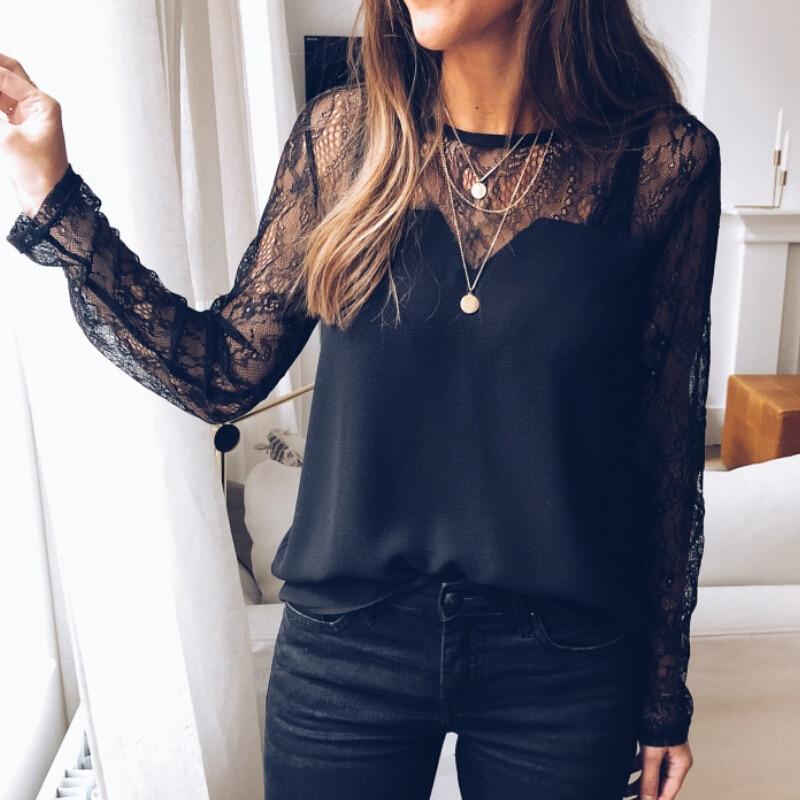 Camisa de manga larga de encaje, camiseta negra con cuello redondo para mujer, ropa barata, Tops de verano, Camisas femeninas, ropa femenina