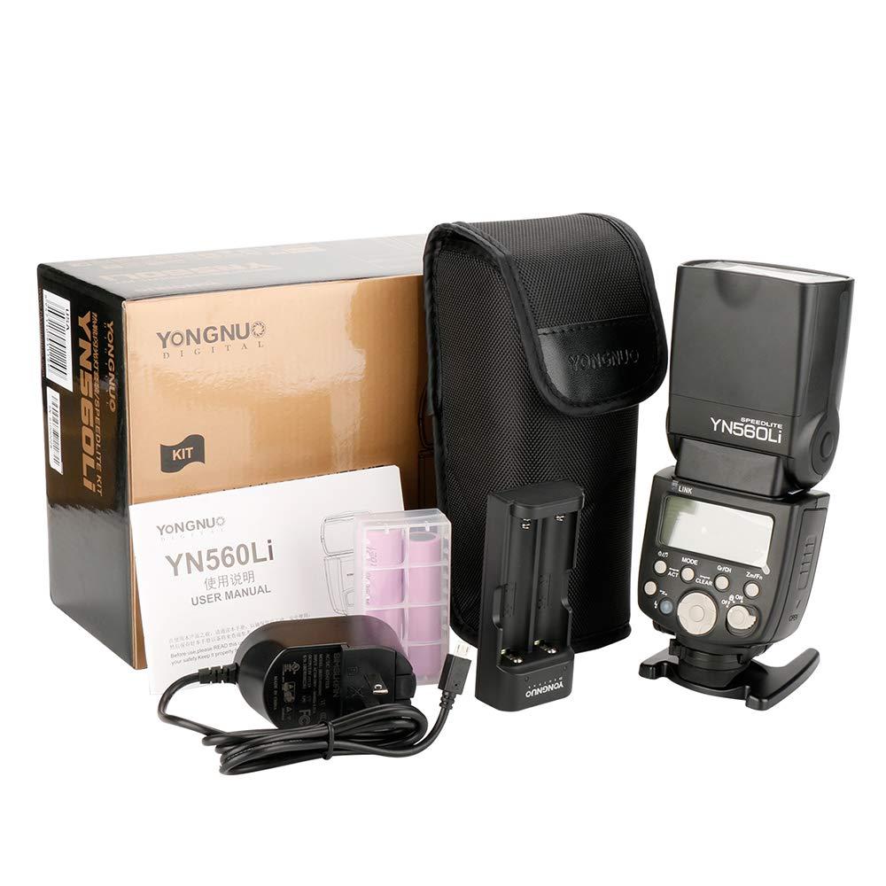 YONGNUO YN560Li Kit inalámbrico Maestro Esclavo de Flash para Canon Nikon DSLR Cámara suministro batería litio Flash Speedlite