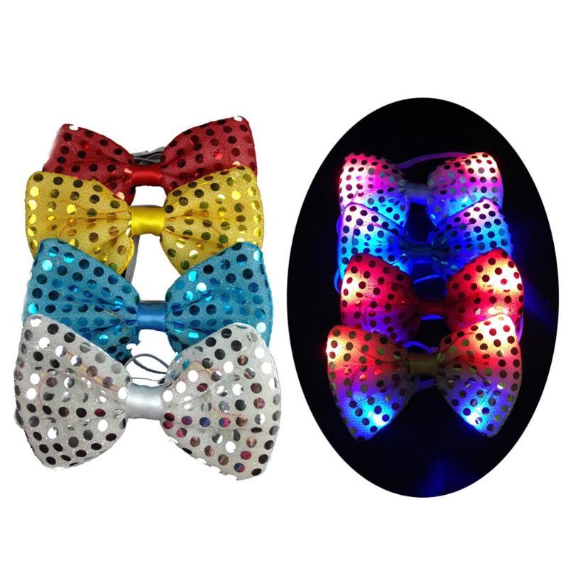 LED Piscando Piscando Moda Gravata Gravata borboleta Gravata Neckt Ano Novo À Noite Show de Luzes Do Partido Lantejoulas Brilham Prop Natal decoração