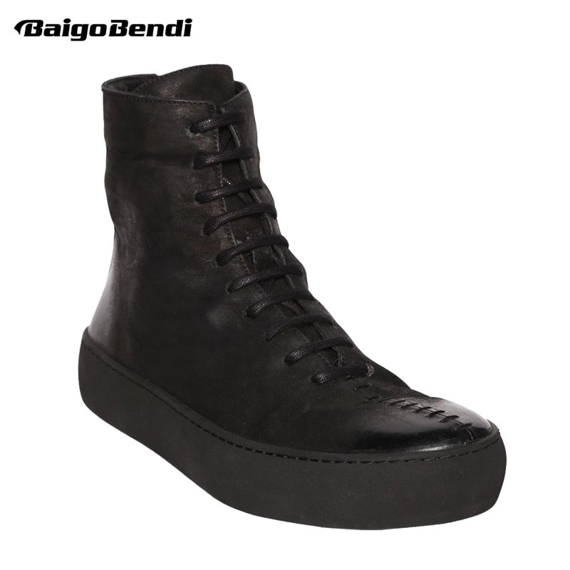 US 6-10 Ankle Boots Men Real Leather Casual Winter Shoes Man Trendy Motorcycle Ridding Boys Fashion Flat