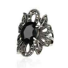 Vintage negro ahuecado flores anillos para las mujeres joyería anillo de compromiso para las mujeres boda anillos para dedos grandes para las mujeres regalos anillo